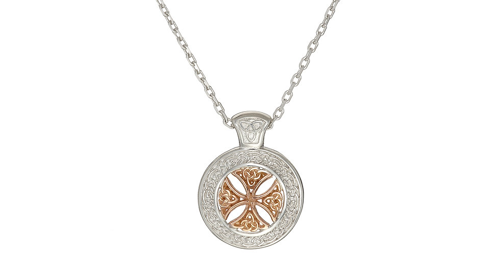 Sterling Silver & Rose Gold Shield Necklace