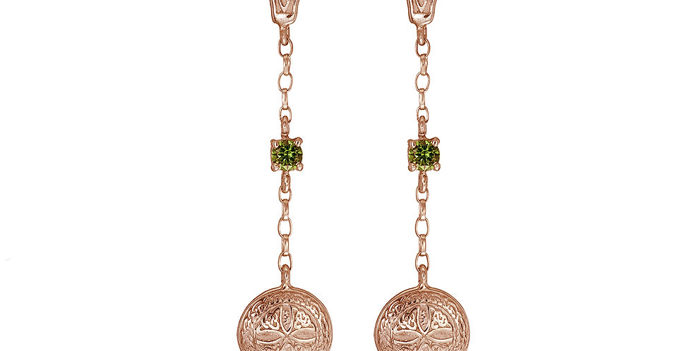 10ct Rose Emerald Gold Shield Earrings