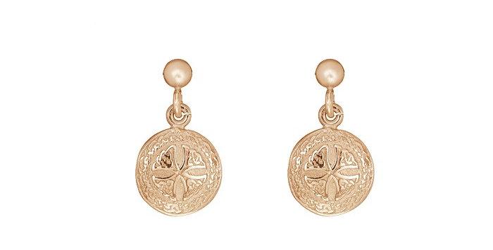10ct Rose Gold Shield Earrings
