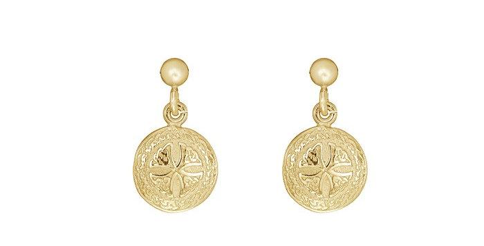 10ct Yellow Gold Shield Earrings