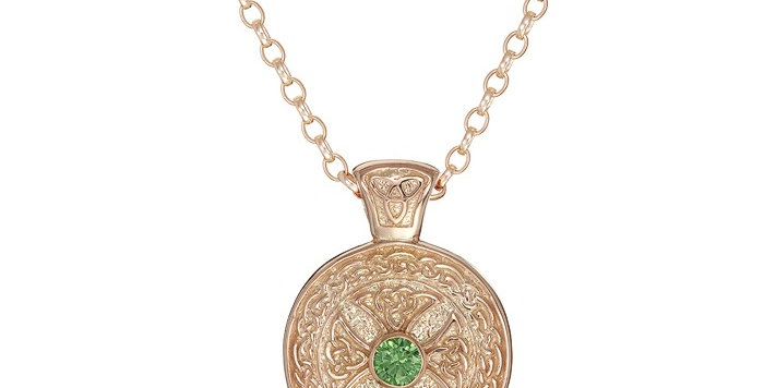 10ct Rose Gold Emerald Shield Necklace