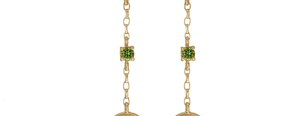 10ct Yellow Gold Emerald Shield Earrings
