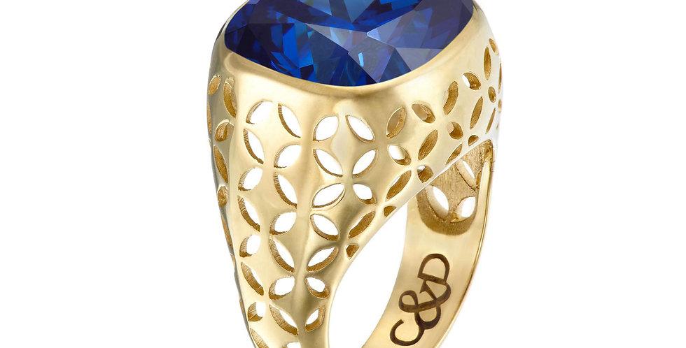 Midnight C&D Bezel  Set Ring 9ct Gold