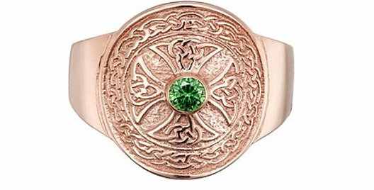 10ct Rose Gold Emerald Shield Ring