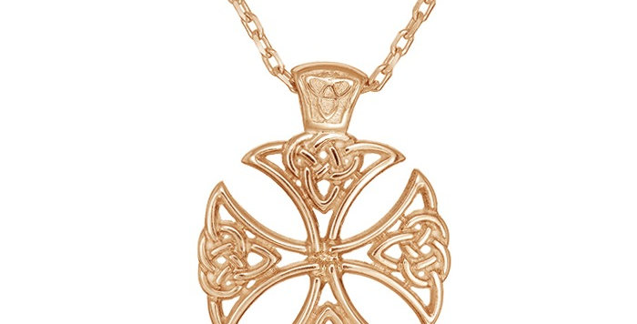 10ct Rose Gold Shield Cross Necklace