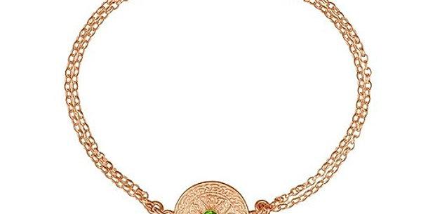 10ct Rose Gold Emerald Shield Bracelet