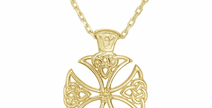 10ct Yellow Gold Shield Cross Necklace