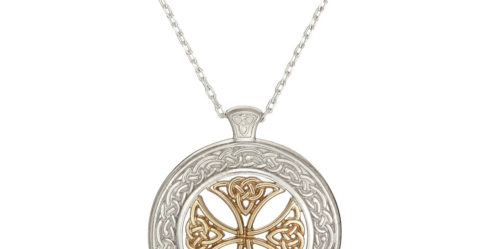 Sterling Silver & Yellow Gold Shield Necklace