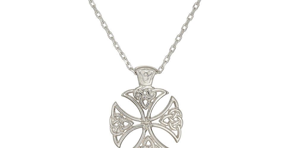 Sterling Silver Shield Cross Necklace