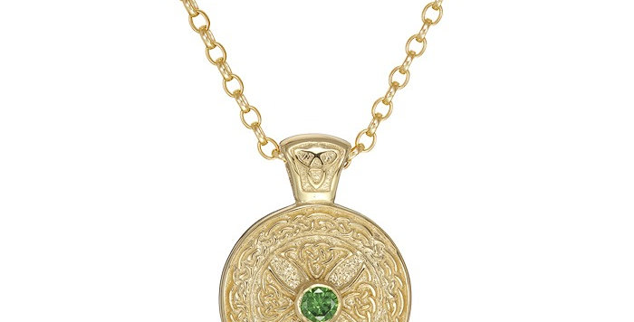 10ct Yellow Gold Emerald Shield Necklace