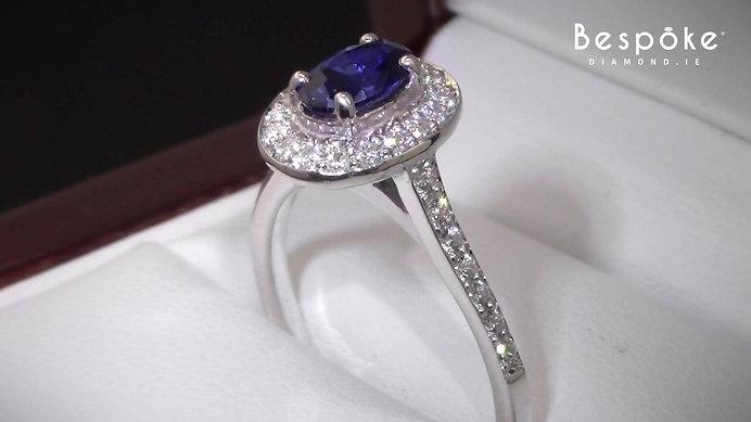 Saphire & Diamonds Halo Ring