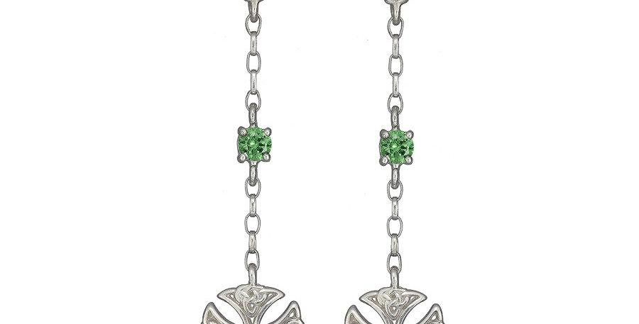 Sterling Silver Emerald Shield Earrings