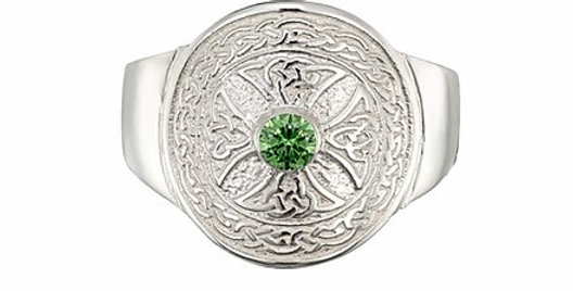 Sterling Silver Emerald Shield Ring