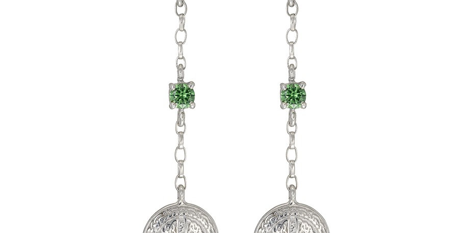 Sterling Silver Emerald Shield Earrings