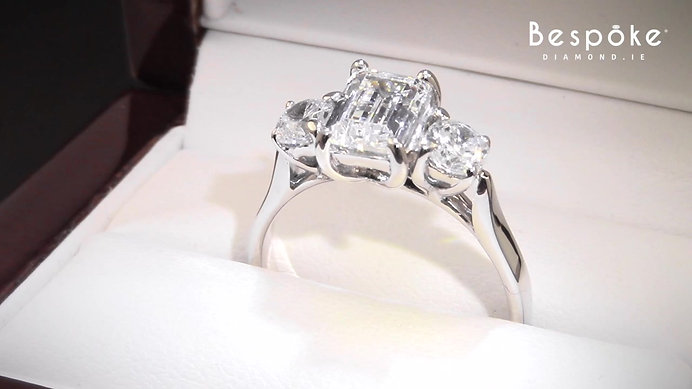 Emerald Cut & Round Brilliant Trilogy Ring