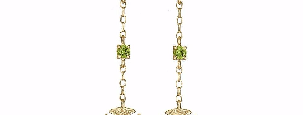 10ct Yellow Gold Emerald Shield Earrings