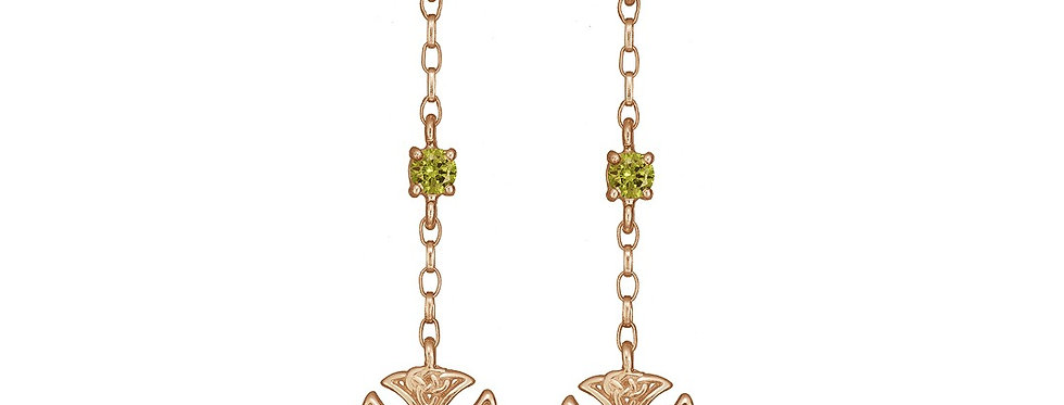 10ct Rose Gold Emerald Shield Earrings