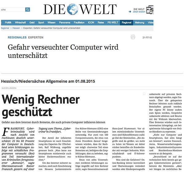Ralf Wildvang zum Thema Gefahren aus dem Internet