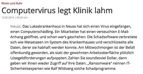 Ralf Wildvang zum Hackerangriff auf eine Klinik