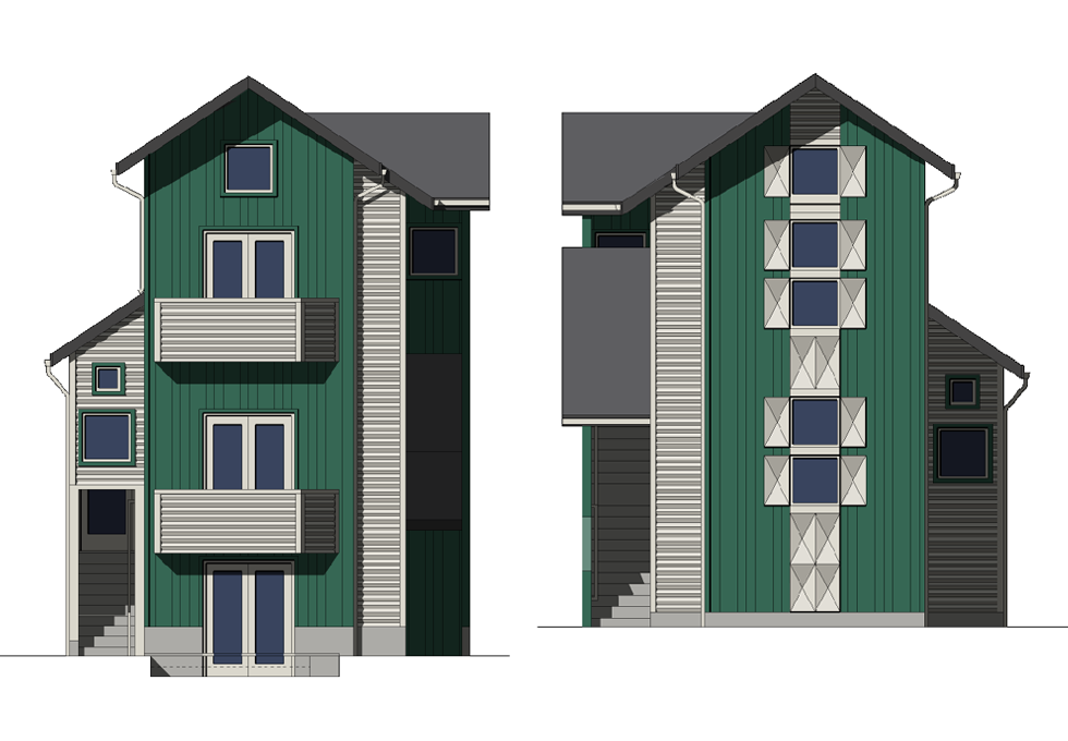 Rear and Front Elevations