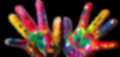 i palmi delle mani sporche di tanti colori a tempera diversi