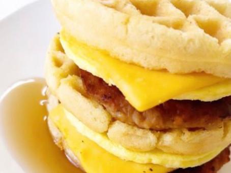 Breakfast keto waffle sandwich