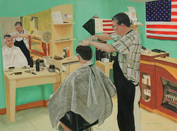 "My barber, Michael Tran, immigrated to theUS from Vietnam.  He is a proud American entrepenuer!   The painting is a 16"" x 20"" Acrylics on stretched canvas."
