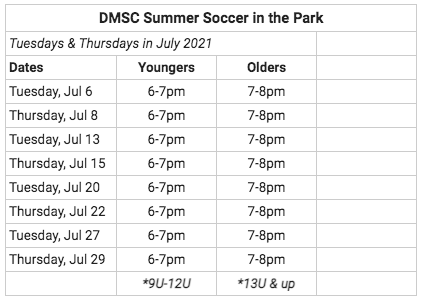 Summer Soccer in the Park Schedule 2021.