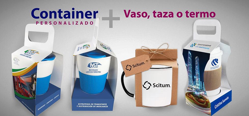 Taza, termo con container personalizado