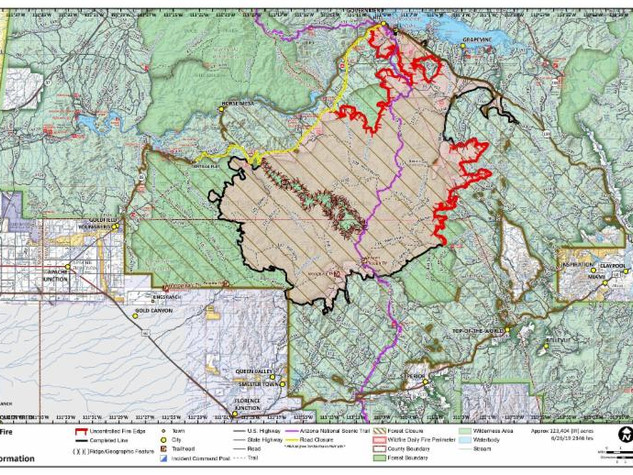 Woodbury Fire Progression Map as of 6.27
