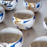 青色彩泥ボウルカップ