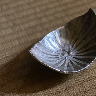 銀彩木葉皿
