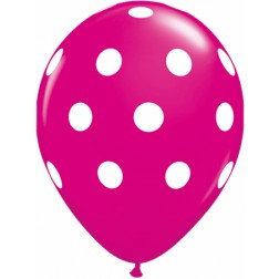 "11"" Latex Balloon-Ruby Pink Polka dot"