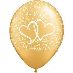 "11"" Latex Balloon -Gold Heart"