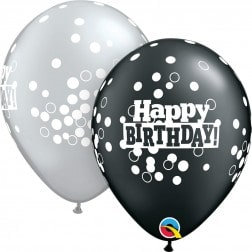 "11"" Latex Balloon- Black & Silver HBD"