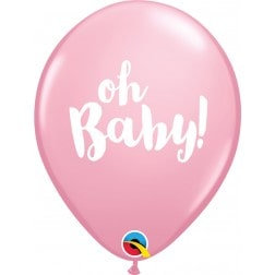 """11"""" Latex Balloon-Pink Oh Baby"""