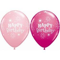 "11"" Latex Balloon- Pink HBD"