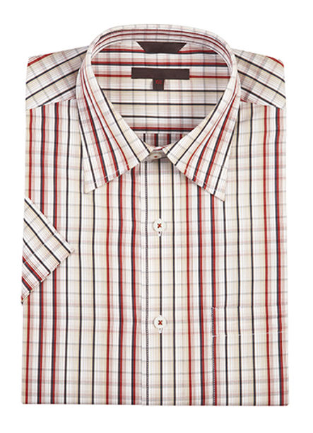 Red and orange plaid button-up shirt