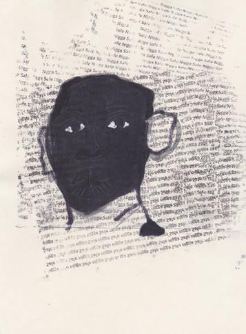 """Barrack 10,2016 -Ink, graphite & correction fluid on tore Moleskine sketchbook paper 3 ½"""" x 5 ½"""""""