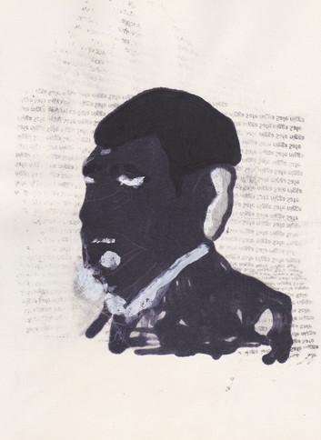 """Obama 11,2016 -Ink, graphite & correction fluid on tore Moleskine sketchbook paper 3 ½"""" x 5 ½"""""""