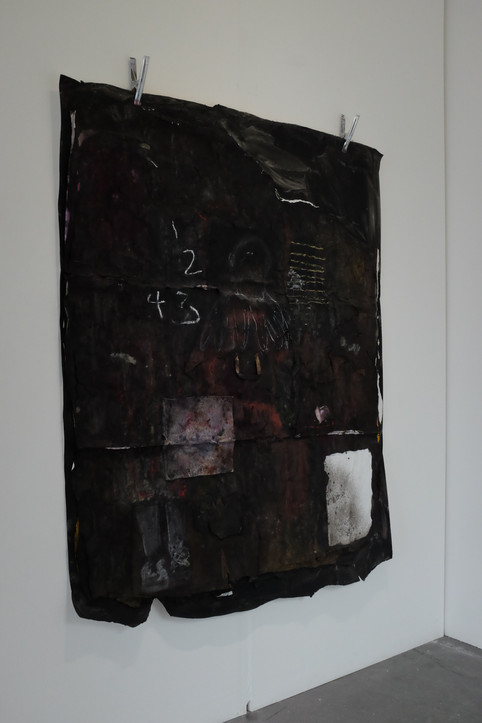 1234, 2018. Metal clamps, multiple layers of paper, found brown paper bag, oil, acrylic ink, charcoal and chalk pastel on Paper. 79 x 59 inches