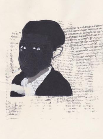 """Obama 3,2016 -Ink, graphite & correction fluid on tore Moleskine sketchbook paper 3 ½"""" x 5 ½"""""""