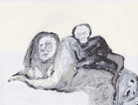 "Porn 1 - Oil, graphite & correction fluid on tore Moleskine sketchbook paper 3 ½"" x 5 ½"""