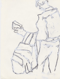 """2013 -Graphite & white-out on tore Moleskine sketchbook paper 3 ½"""" x 5 ½"""""""