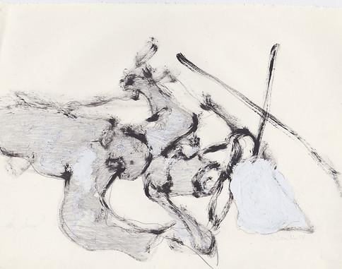 "Porn 6 - Oil, graphite & correction fluid on tore Moleskine sketchbook paper 3 ½"" x 5 ½"""