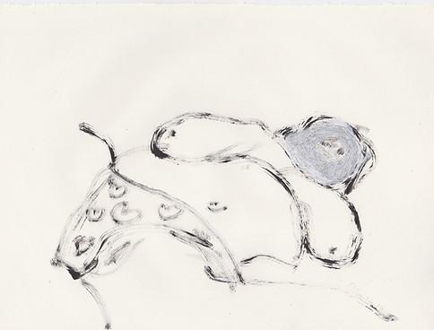 "Porn 4 - Oil, graphite & correction fluid on tore Moleskine sketchbook paper 3 ½"" x 5 ½"""