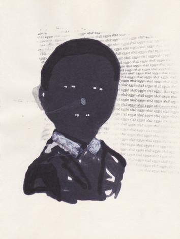 """Obama 9,2016 -Ink, graphite & correction fluid on tore Moleskine sketchbook paper 3 ½"""" x 5 ½"""""""