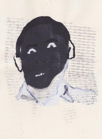 """Obama 5,2016 -Ink, graphite & correction fluid on tore Moleskine sketchbook paper 3 ½"""" x 5 ½"""""""