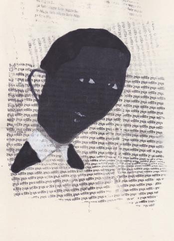 """Obama 8,2016 -Ink, graphite & correction fluid on tore Moleskine sketchbook paper 3 ½"""" x 5 ½"""""""