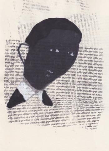 """Barrack 8,2016 -Ink, graphite & correction fluid on tore Moleskine sketchbook paper 3 ½"""" x 5 ½"""""""